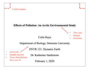 Sample of an APA format title page for a student paper: